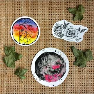 🚚 Hand drawn waterproof stickers (for laptop,planners etc)