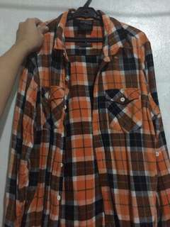 Flannel orange and black checkered