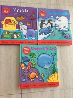 3 hardcover board books - lift flap, push-pull-turn
