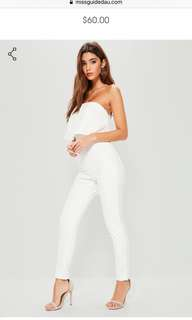 New bandeua double layer white strapless jumpsuit
