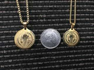 Stainless (Gold color) St. Benedict necklace (pair)
