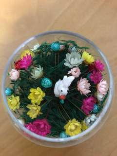 Frozen flower with rabbit table decoration