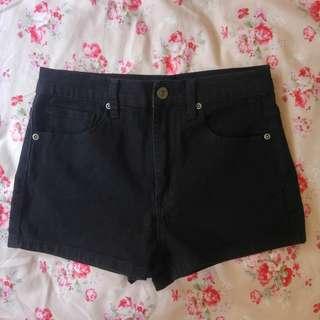 🚚 Forever21 黑色彈性高腰短褲 牛仔短褲