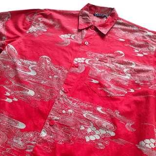 🚚 顛復古⚡️復古紅底日式雲霧古著短袖襯衫❤️男女皆可