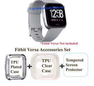 Gray, Fitbit Versa Accessories Set (TPU Protective Case+Tempered Screen