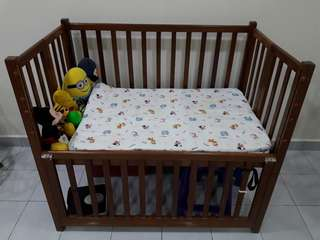 Extra large solid wood baby cot