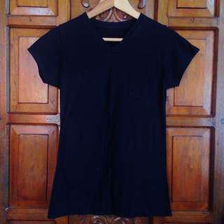 Black V Neck Shirt Tee Top