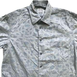 🚚 顛復古⚡️復古藍哥wrangler大地灰螺旋紋路古著短袖襯衫❤️男女皆可