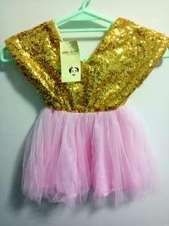 gold sequin baby tutu dress
