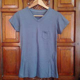 Gray V Neck Shirt Tee Top