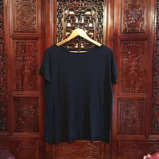 Uniqlo Plain Blouse Shirt Navy Blue Preloved