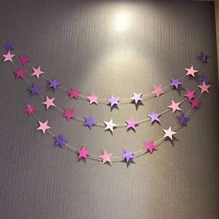 Party Star Garland / Bunting (Pink, Purple, Rose Red)