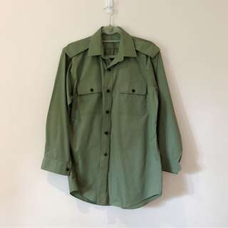 Vintage Button Down Military Army Green Shirt