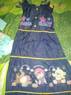 Dress Gamis Baju Muslim Masha and The Bear Baju Anak Perempuan Kuning