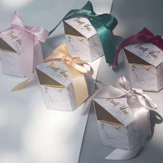 Marble Design Door Gift Favors Box with Ribbon
