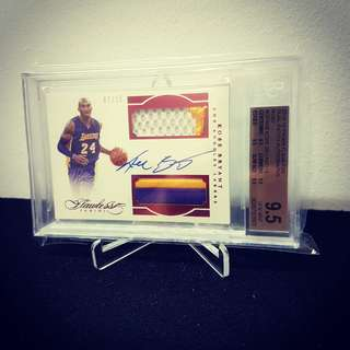 Mouse over image to zoom Have one to sell? Sell it yourself Details about  2015-16 Panini Flawless Kobe Bryant dual patch auto Ruby /15 BGS 9.5 Auto 10