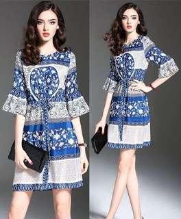 Blue Full Print Floral Elegant Dress