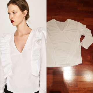 Zara V neck White Top