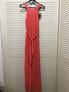 Coral maxi dress pleated