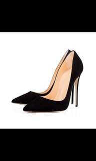 New Black suede 12cm heels red bottom style