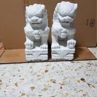 A pair of fengshui Cement lion