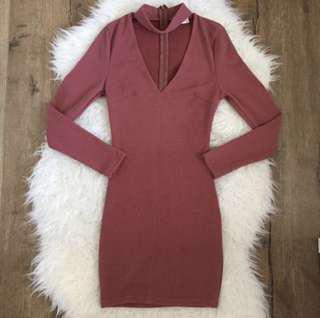 Morning Mist Dark Mauve Choker Sweater Dress Side 8