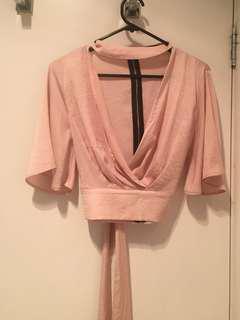 Valleygirl Light Pink Tie Top