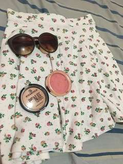 SKIRT WITH MAKEUP (MILANI BLUSH AND PURE ESSENCE HIGHLIGHTER) AND SUNNIES FROM SUNNIES STUDIO