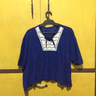 Blue Boho Top