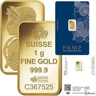 1 gram gold bar (999 series)
