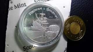 海盜船橡木桶銀幣,銀幣,收藏錢幣,錢幣,幣,silver coin,silver~2018海盜船橡木桶銀幣(世上只有二萬五千枚,9999純銀製造,全新一盎司)(The silver coin 1oz)