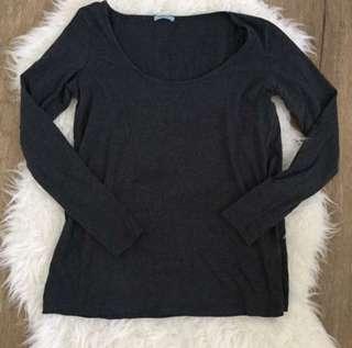 Kookai Grey Organic Cotton oversizdd Sleeve Top Size 1 6-8