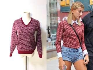 💯真品 Auth Christian Dior monogram sweater 人氣經典圖案長袖針織上衣冷衫