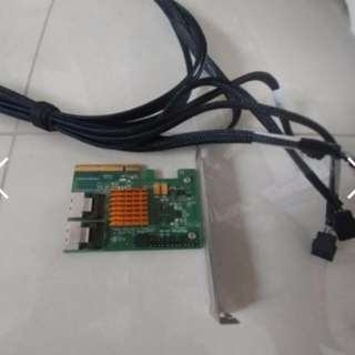 Used HighPoint RocketRaid (PCI-e 2.0) 2720SGL 8-Port SAS w/ 1* Mini-SAS to Sata (cable)