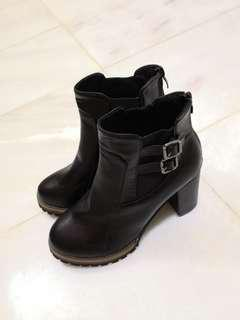 PU Leather Black High Heel Boots
