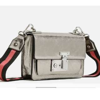 Zara Metallic Military Strap Gunmetal Crossbody Bag