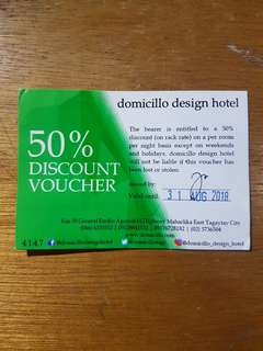 50% Discount Voucher for Domicillo Design Hotel (Tagaytay)