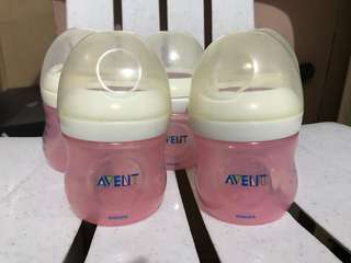 Avent Natural Bottles (used) and Nipples (new)