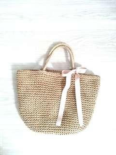 日本沙灘草編藤籃袋