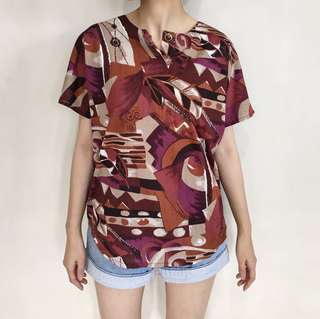 Fay Maroon Abstract Blouse