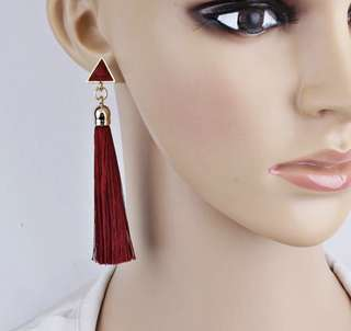 Tassle Earrings with Triangular Stone Accent