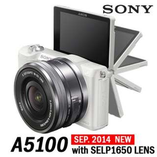 Sony A5100 + 16-50mm Interchangeable Lens Camera with 3-Inch Flip Up LCD (White)(Black)(Brown) New