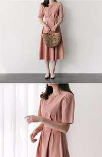女裝淡粉紅色韓式 復古學院風連身裙 中碼 M Size