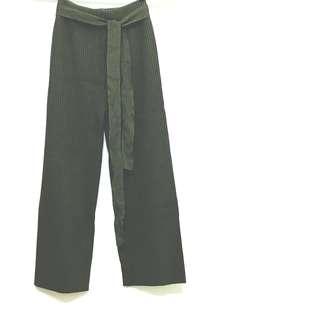 🚚 簡約居家舒適九分針織寬褲 橄欖綠