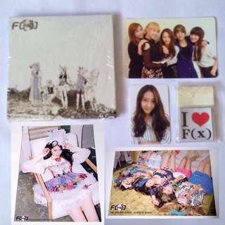 F(x) - official Electric Shock album with Krystal + group card and Krystal + group poster and a set of i ♥️f(x) stickers