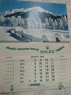1966 vintage calendar (2 copies) ft Rolex logo
