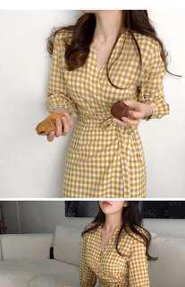 全新韓式黄白格仔修身 修腰連身長裙 中碼 現貨