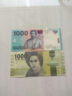 Indonesia 2 Pcs, 2013 & 2016 1000 Rupiah Unc Crisp Notes