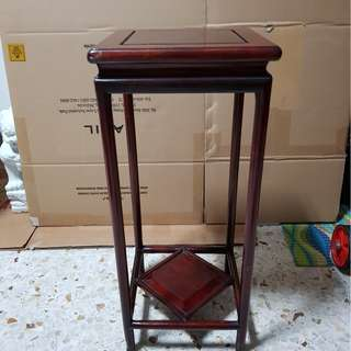 Glass top solid wood table stand