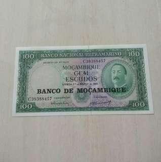 Mocambique 1961 100 Escudo Unc Crisp Note